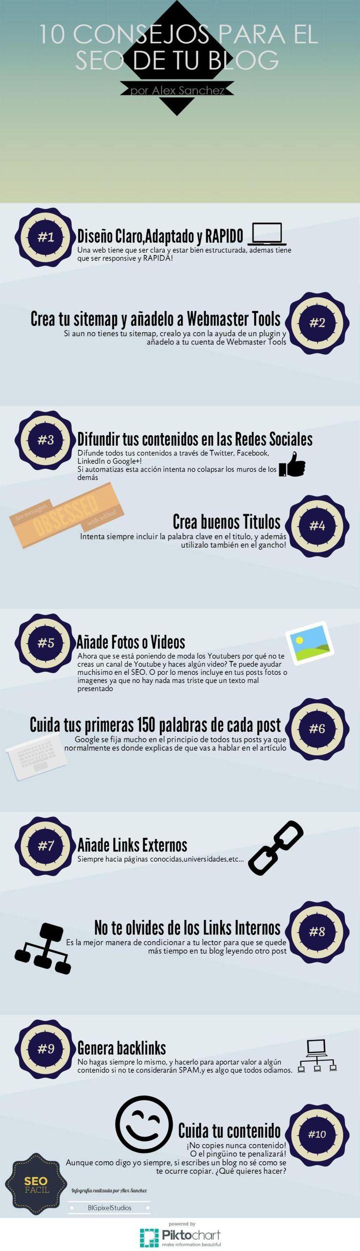 10 consejos para el SEO de tu Blog #infografia #infographic #socialmedia #seo