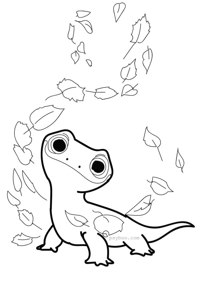 Bruni Lizard Frozen 2 Coloring Page in 2020 | Elsa ...