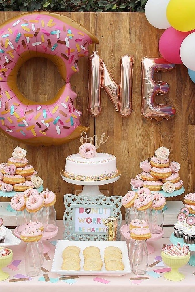12 Creative First Birthday Party Ideas Your Little One Will Love In 2019 Donut Themed Birthday Party Donut Birthday Parties Donut Party