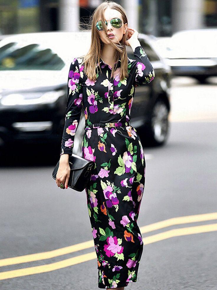 Black Floral Midi Shirt Dress//