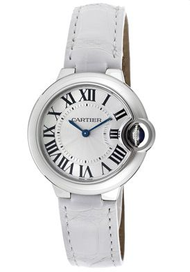 Cartier W6920086 Watches,Men's Ballon Bleu De Cartier Silver Guilloche Dial Shiny White Genuine Alligator, Men's Cartier Quartz Watches