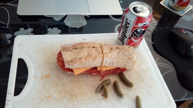 Red Leicester and Chorizo on a Baguette with a Jupiler and some little pickles/Cornichons #cookery #cooking #food #recipes #kitchen #cookbook #baking #school #MargueritePatten #LLm