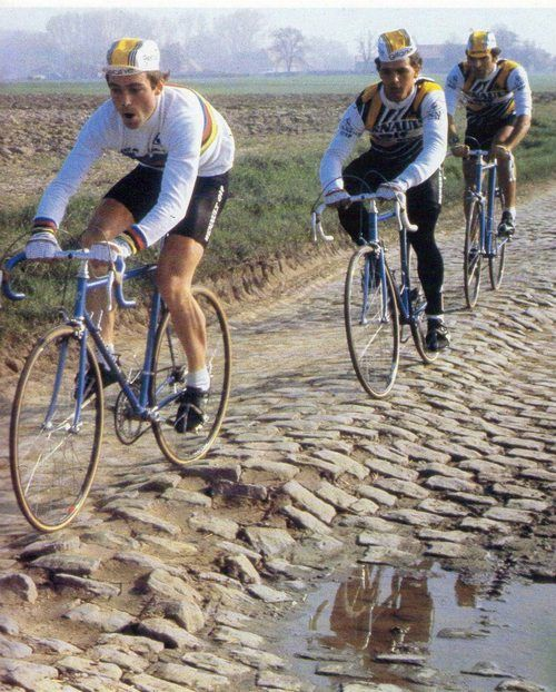 "classicvintagecycling:  Bernard Hinault thought Paris-Roubaix was une connerie (""bullshit""), at least for anyone with ambitions to win the Tour. After he won the Hell of the North in 1981, he never went back."