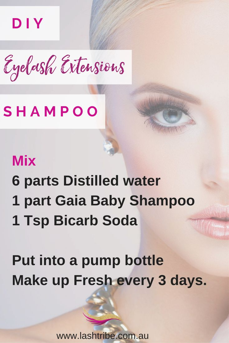DIY Eyelash Extensions Recipe | If you don't have much money you can also mix your own Eyelash Extensions Shampoo. It's easy BUT I am telling you right now, it's not as good as Lash Shampoo that was specifically designed for this reason and you will also need to mix up a fresh batch every 2-3 days, otherwise the water will start to build up with bacteria. CLICK here to get the recipe http://lashtribe.com.au/2017/01/27/how-to-clean-your-eyelash-extensions/ | Lash Extensions Business Tips