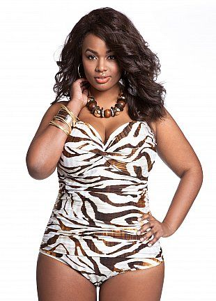 Ashley Stewart: Web Exclusive: Zebra Print One Piece Swimsuit