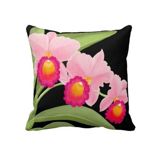 Pink Cattleya Orchid Flowers Pillow