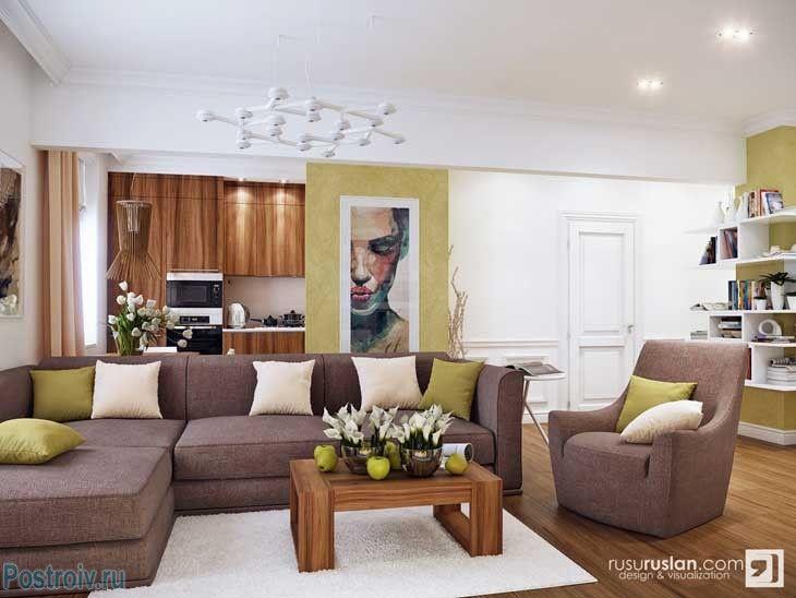 Белый ковер и диван шоколадного цвета в гостиной. Фото