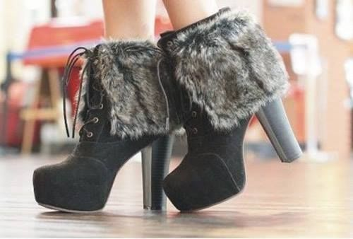 Black ankle height with fur cuffs