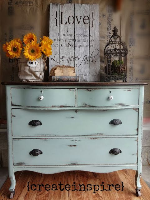 I love this dresser ... but also the beautiful First Corinthians 13 sign. Can you tell I'm 100% obsessed with Duck Egg?