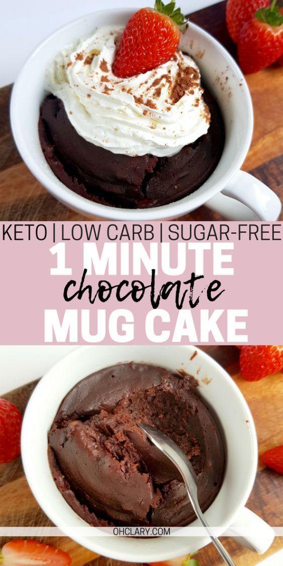 OH MEIN GOTT! Ich kann es kaum erwarten, diesen 1-minütigen KETO-Schokoladenbecherkuchen zu probieren! Gesunde Low Carb …
