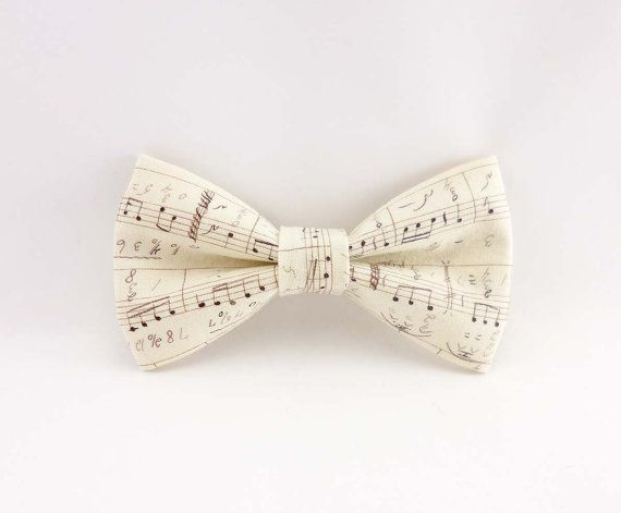 Men's bow tie cream music notes cotton print - pre tied clip on bowtie – womens bowties ivory musical design