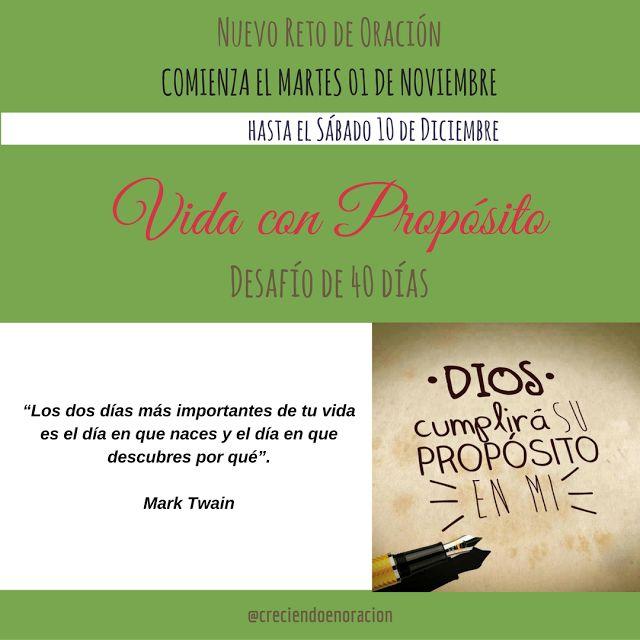Reto Vida con Propósito - 40 días de Oración #retoVidaConPropósito
