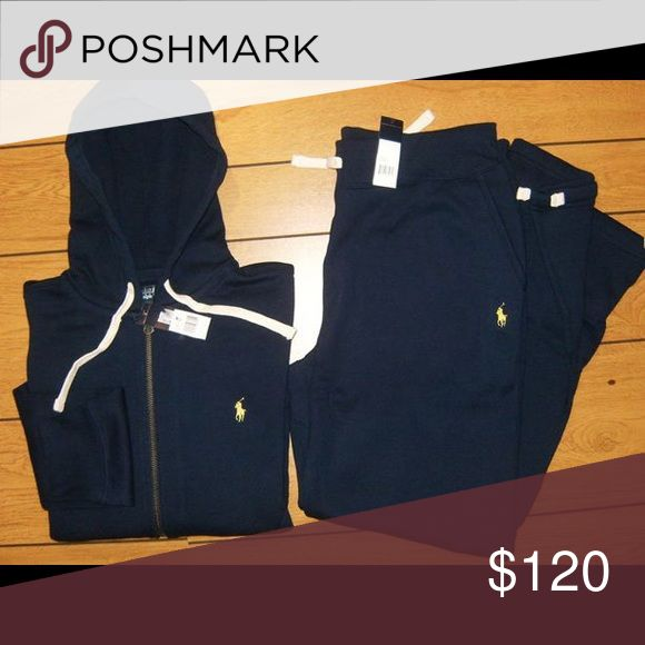 Polo jogging suit with True Religion tee Last one guys!!!! Polo jogging suit jacket and joggers, brand new never worn. Navy Blue with yellow horse 🐴 with brand new true religion tee to complete the outfit, your Color choice and size. Polo by Ralph Lauren Other