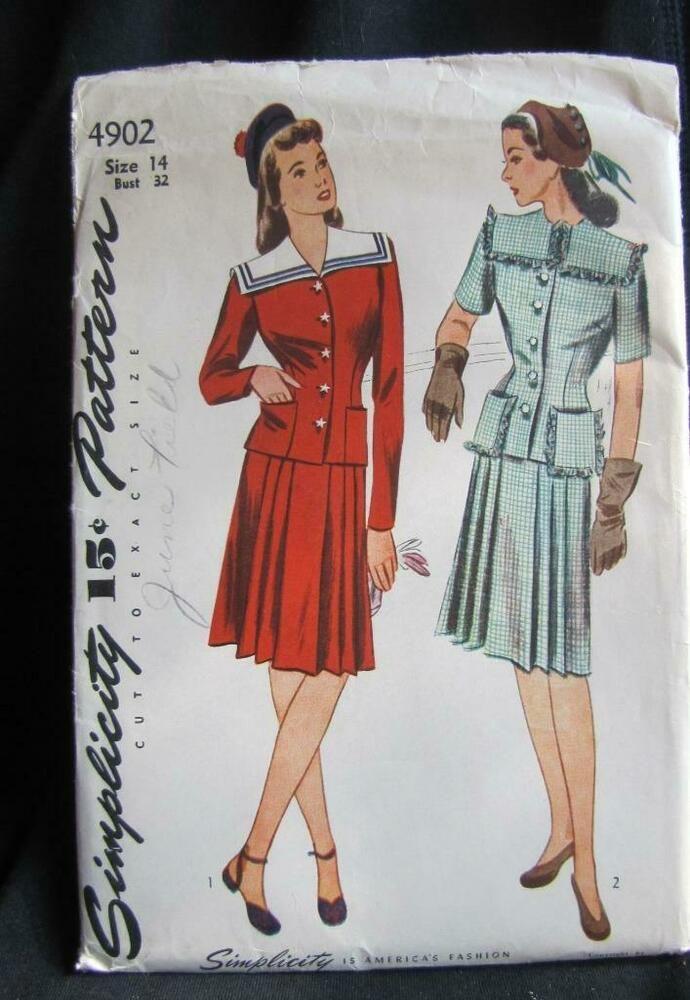 Details About 1940s Simplicity Skirt Suit Pattern Sz 14 32b With Images Suit Pattern Pattern Dress Women Simplicity Patterns Dresses
