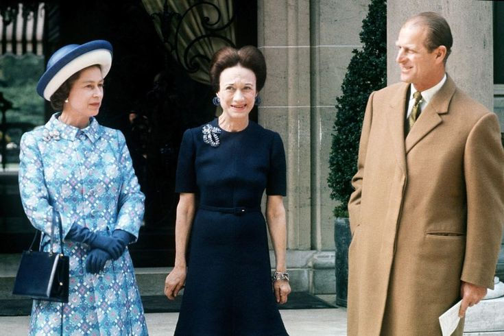 Queen Elizabeth and Prince Philip meet Wallis Simpson, the Duchess of Windsor, during their state visit to Paris, France, in May 1972.
