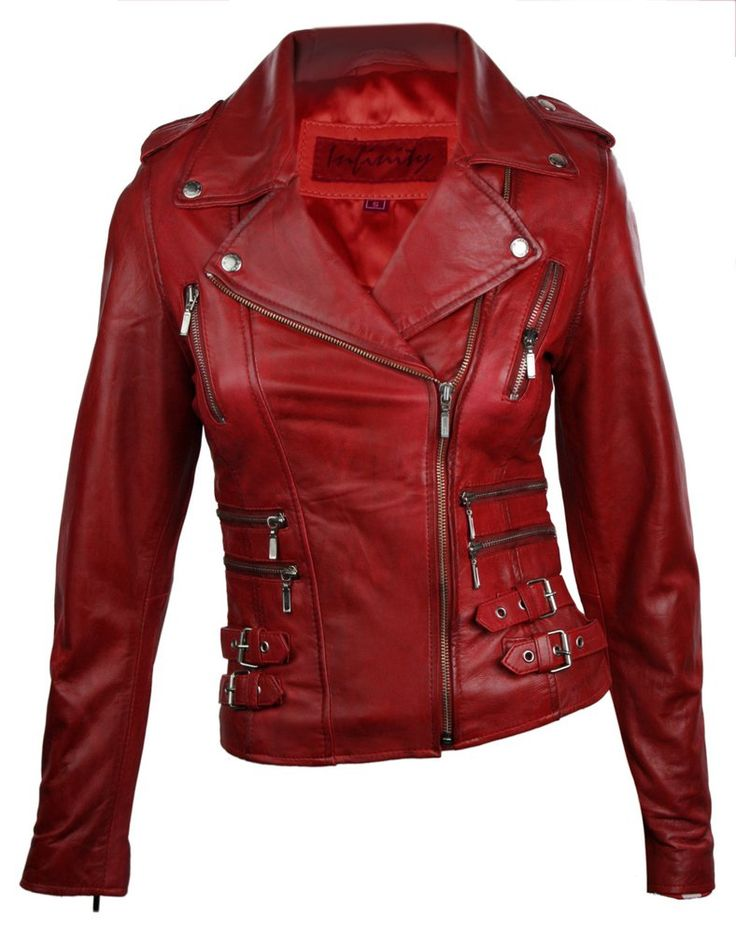 Got to have this!!! 100% Ladies Real Leather Jacket Short Fitted Bikers Style Retro Red Rock