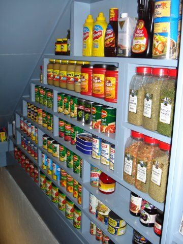 Pantry Shelving under the staircase.  This site has a lot of survival tips and links.