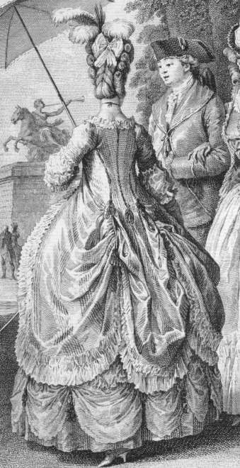 Robe a la polonaise is a style of gown that debuts around 1776 and is denoted not only by the fact that it's looped up in the back, but more importantly its cut-away front. Having skirts of any gown polonaised is when the skirts of any open gown are looped up in two places in the back, segmenting the skirts into sections. When polonaised, skirts could be looped up with ribbon pulling up sections,hidden loops in the inside of the skirts, or buttons on the outside.