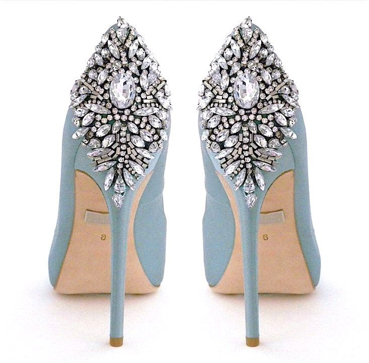 Badgley Mischka Wedding Shoes. A new color in the most coveted heels for brides. Kiara now available in Blue Radiance. Perfect Aisle Style.