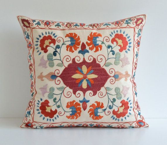 20x20 Silk Suzani Pillow Cover  Hand Embroidery Modern by pillowme, $98.00