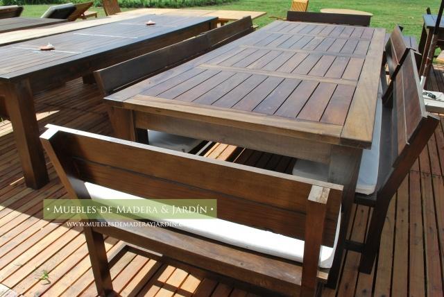 Mesas y bancos de madera muebles de jardin pinterest for Mesas para patio