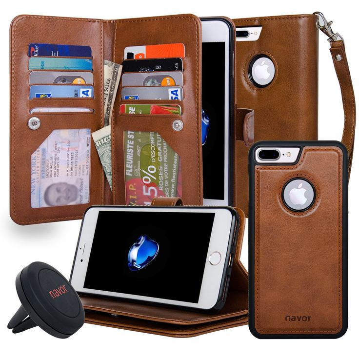 NAVOR Car Mount and iPhone 7 Plus Case Magnetic Detachable Wallet Case [RFID Protection] JOOT-3L Series Kit