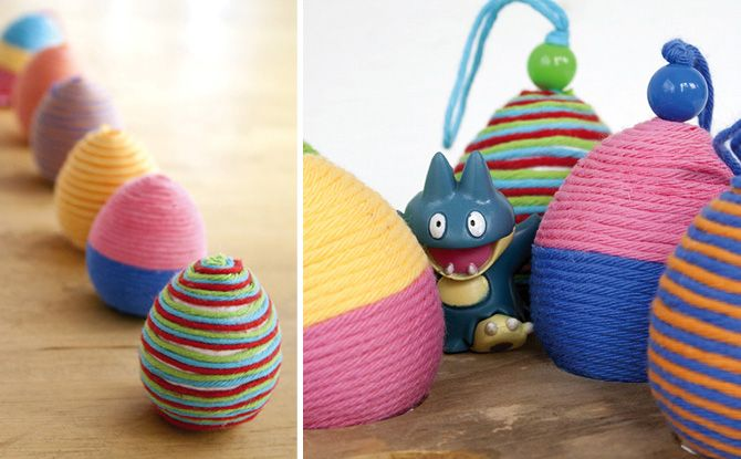Yarn wrapped easter eggs.