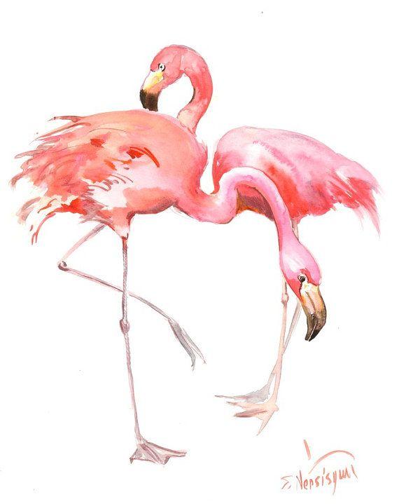 Two Flamingos, Original watercolor painting, 14 X 11 in, flamingo lover art, flamingo painting, pink flamingos