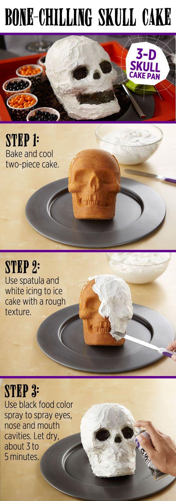 Use the Wilton 3-D Skull Pan to bake an easy 3-dimensional skull cake.