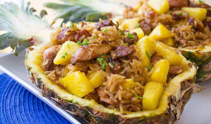 Teriyaki Chicken Fried Rice Stuffed Pineapple