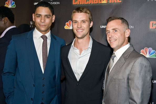 """Charlie Barnett (L to R) Charlie Barnett, Jesse Spencer, and David Eigenberg attend NBC's """"Chicago Fire"""" premiere at the Chicago History Museum on October 2, 2012 in Chicago, Illinois."""