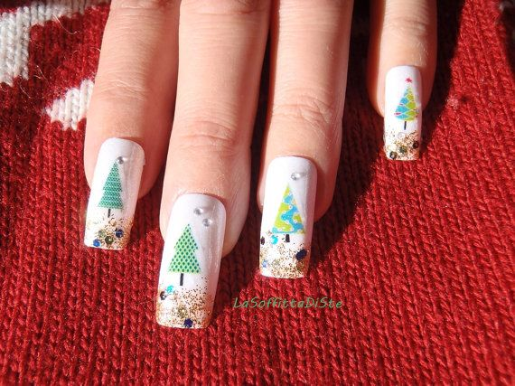 cij set nails christmas in july tree white by LaSoffittaDiSte