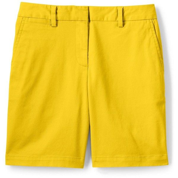 Lands' End Women's Petite Mid Rise 7 Chino Shorts ($28) ❤ liked on Polyvore featuring shorts, yellow, yellow shorts, long shorts, lands end shorts, summer shorts and petite shorts