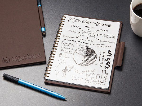 This dry erase notebook never runs out of pages. Sketch, draw, and list your ideas—the hypergloss film and pen limit smudging and encourage many, many drafts. It looks like your classic vegan leather journal from the outside, but inside it's an eco-friendly and mistake-friendly solution.