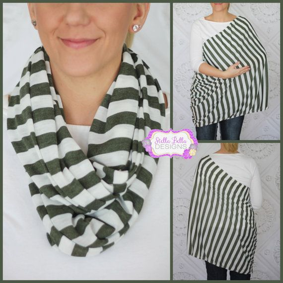 Ships NOW Hold Me Close Nursing Scarf Olive Green and Ivory Stripes, Nursing Cover, Infinity Nursing Scarf