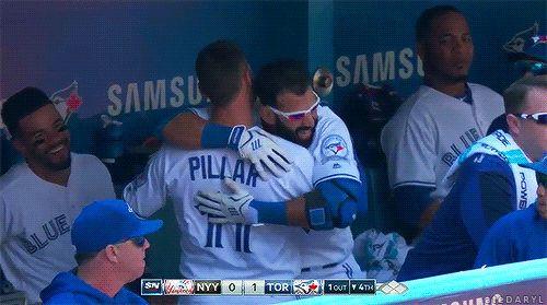 I love gleeful Jose Bautista!!  We don't see him very often. Lol. Kevin Pillar. Toronto Blue Jays. MLB. Baseball.