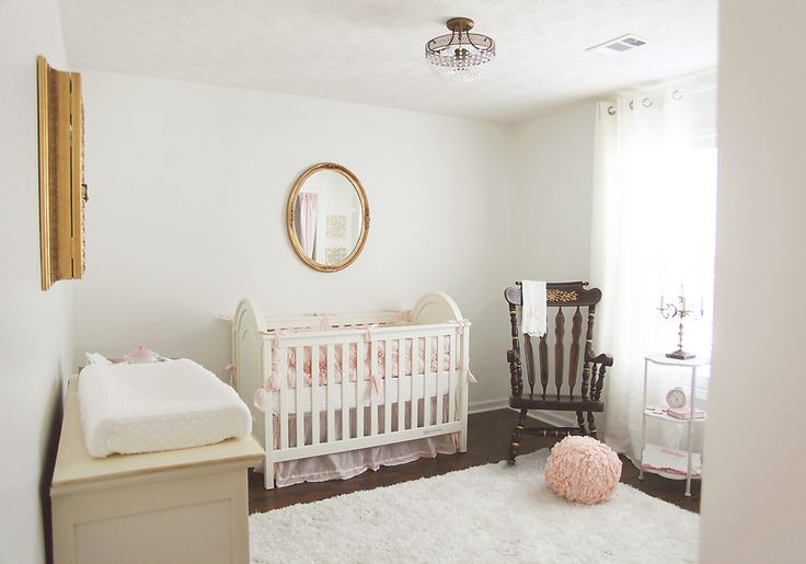 Simple, elegant antique French-inspired nursery - love the soft pink and gold accents!Gold Accent