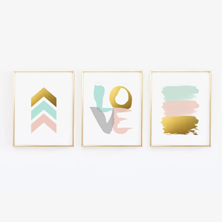These three prints would be great for a little girls blush pink nursery. Inspired by some very trendy colors at the moment - blush, mint (light teal) and gold. The LOVE print in the middle was done wi