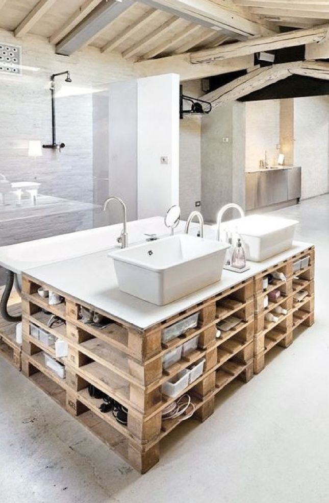 62 best style industriel salle de bain images on pinterest for Banc teck salle de bain