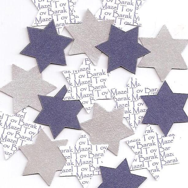Personalized Bar Mitzvah Decorations, Brit Milah Decorations - Jewish Star Confetti Choice of Colors by SetToCelebrate on Etsy https://www.etsy.com/listing/234469604/personalized-bar-mitzvah-decorations