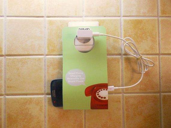 Cell Phone Holder Wall Socket NOTON STUPID by econdesign on Etsy