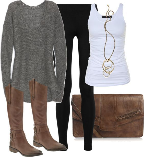 #fall #outfits / Grey Long Sleeve + Tall Boots
