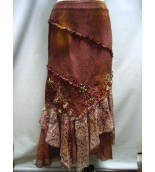 Rust Long Embellished Skirt