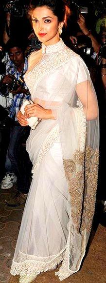 Deepika Padukone in an elegant Anamika Khanna sari Bridelan - a personal shopper & stylist for weddings. Website www.bridelan.com #Bridelan