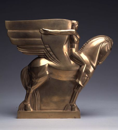 John Storrs 'Winged Horse', ca.1919. John Henry Bradley Storrs (June 25, 1885– April 26, 1956), also known as John Bradley Storrs and John H. Storrs, was an American modernist sculptor, who created masterful works in many media, throughout a career spanning nearly fifty years on two continents.