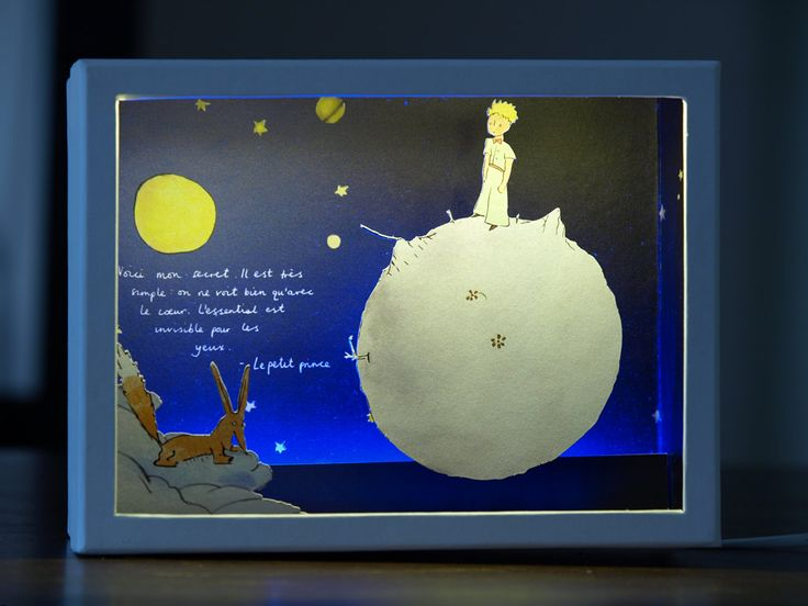Le Petit Prince - Diorama in a box with cutout paper figures and led strip light | Le Petit Prince | Nightlight | Antoine de Saint-Exupéry by boxdiorama on Etsy