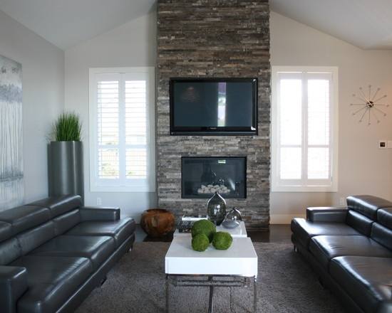 Flush Mounted Tv With Tile To Ceiling Home Fireplace