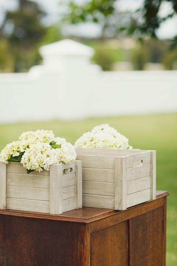 white hydrangeas in white boxes (boxes are a fab idea)