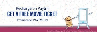 paytm coupons-get free movie ticket offers on recharge or bill payment of ₹50
