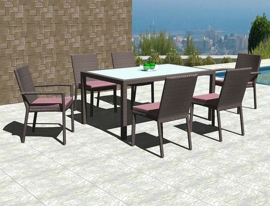 6-Seater BASILAN Dining Table with frosted, tempered glass inset; CAMOTES Side Chairs and CAMOTES Arm Chairs